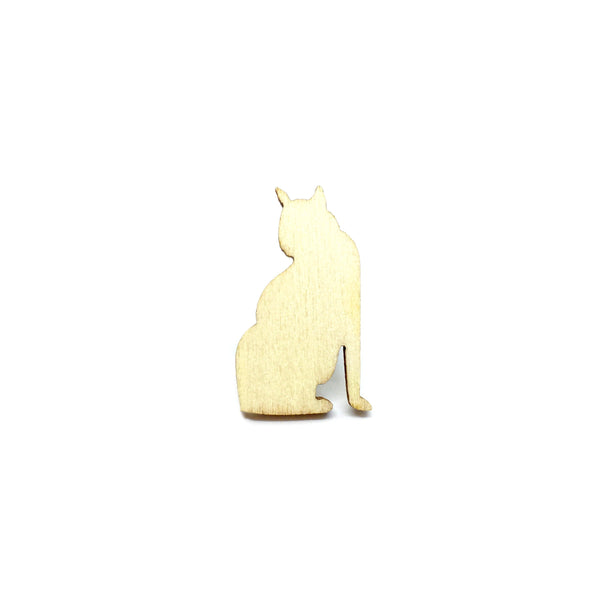 HDB Cat Wooden Brooch Lapel Pin