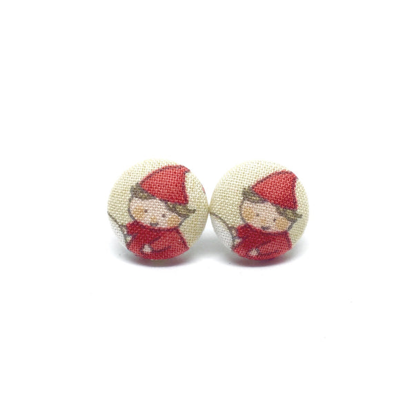 Santas Elves Handmade Fabric Button Earrings
