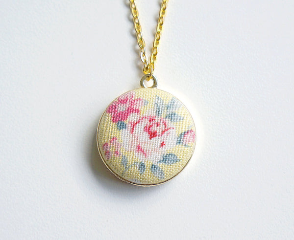 Bethany Rose Handmade Fabric Button Necklace