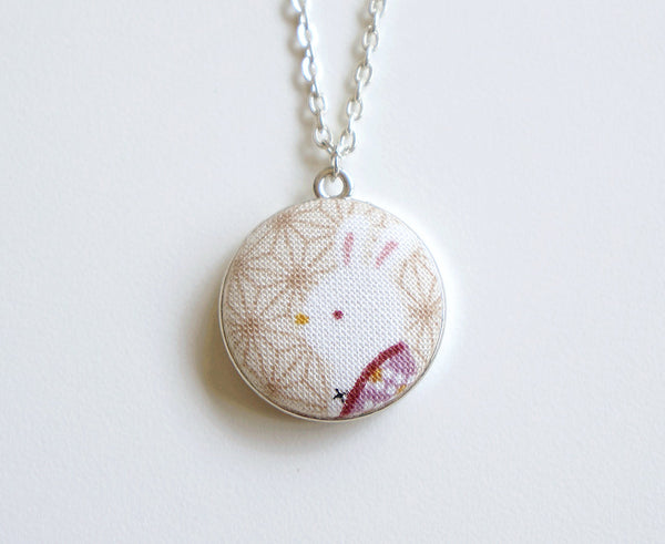 Maeko Bunny Handmade Fabric Button Necklace