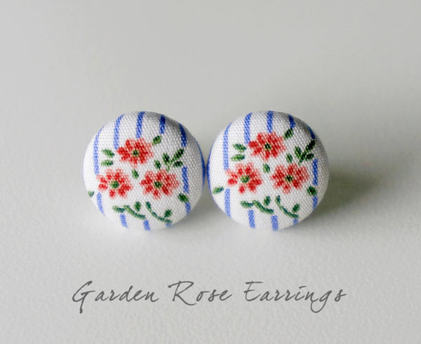 Garden Rose Handmade Fabric Button Earrings