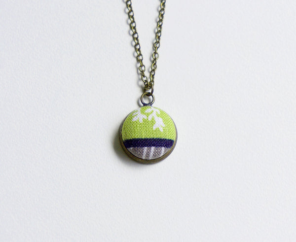 Anemone Spring Handmade Fabric Button Necklace