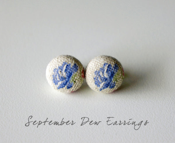 September Dew Handmade Fabric Button Earrings
