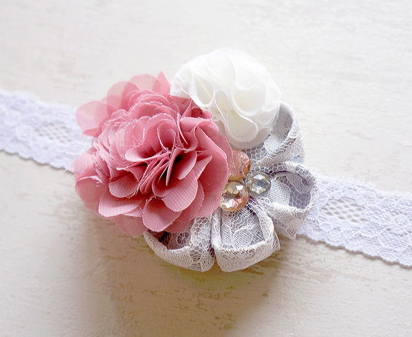 Coral Baby Headband With Small Flowers Baby Accessories