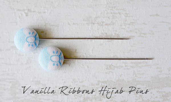 Vanilla Ribbons Handmade Fabric Button Hijab Pins