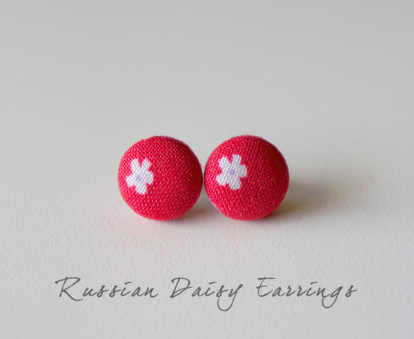 Russian Daisy Handmade Fabric Button Earrings