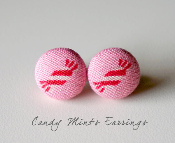 Candy Mints Handmade Fabric Button Earrings