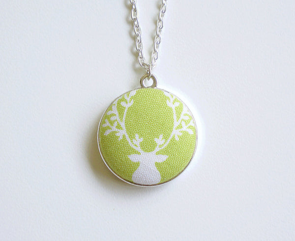 Reon the Deer Handmade Fabric Button Necklace