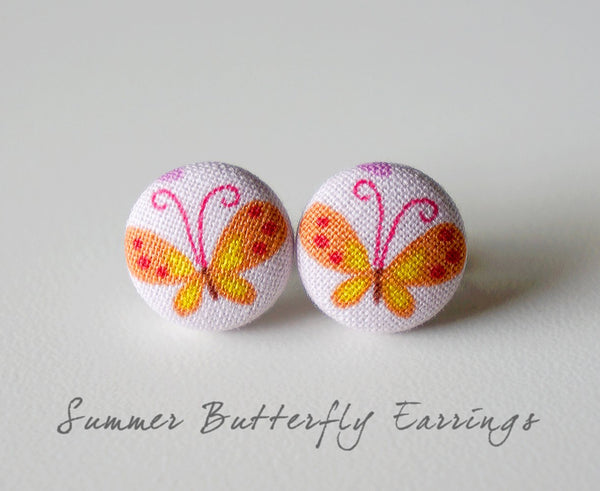 Summer Butterfly Handmade Fabric Button Earrings