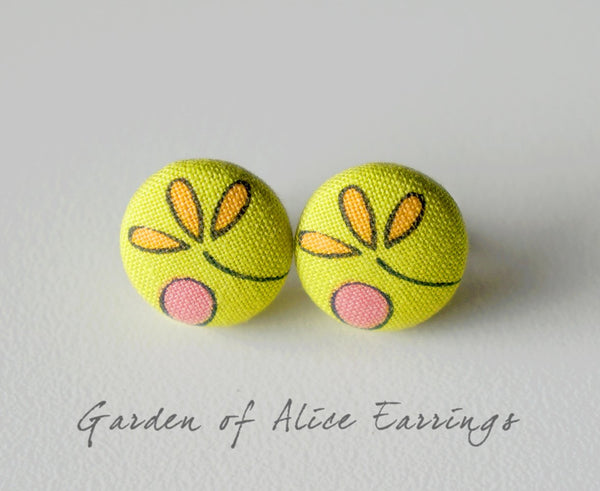 Garden of Alice Handmade Fabric Button Earrings