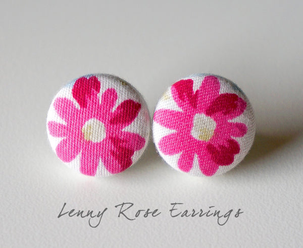 Lenny Rose Handmade Fabric Button Earrings