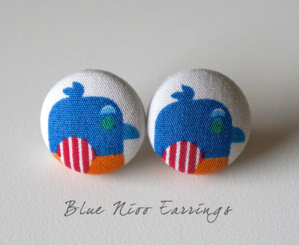 Blue Nioo Handmade Fabric Button Earrings