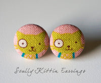 Scully Kittin Handmade Fabric Button Earrings