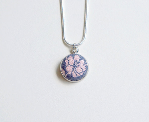 Ohanna Rose Handmade Fabric Button Necklace