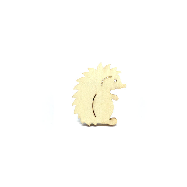 Cute Hedgehog Wooden Brooch Pin