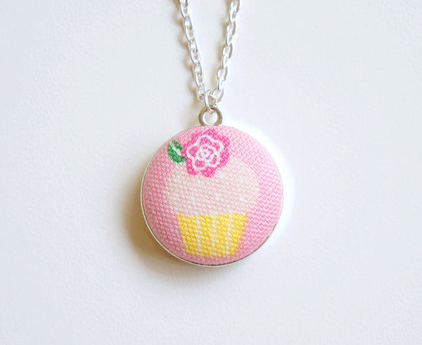 Sunrise Cupcake Handmade Fabric Button Necklace