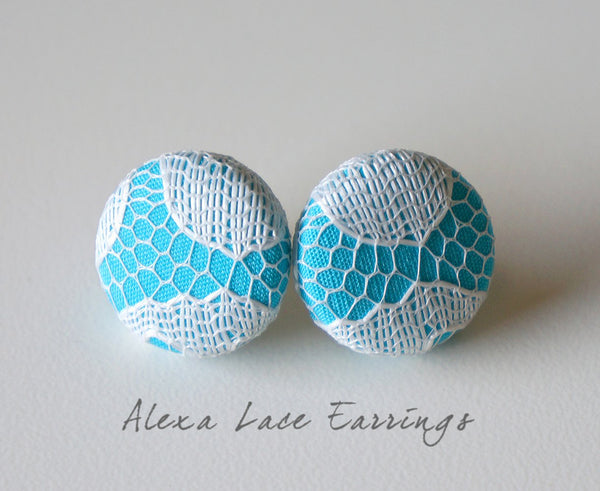 Alexa Lace Handmade Fabric Button Earrings