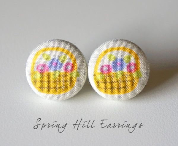 Spring Hill Handmade Fabric Button Earrings