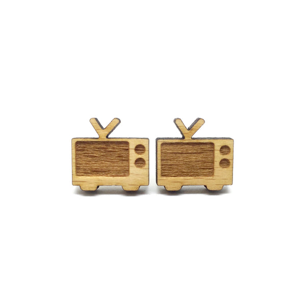 Retro Old 60s TV Laser Cut Wood Earrings
