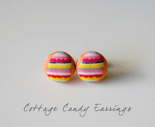 Cottage Candy Handmade Fabric Button Earrings