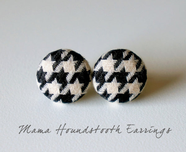 Mama Houndstooth Handmade Fabric Button Earrings