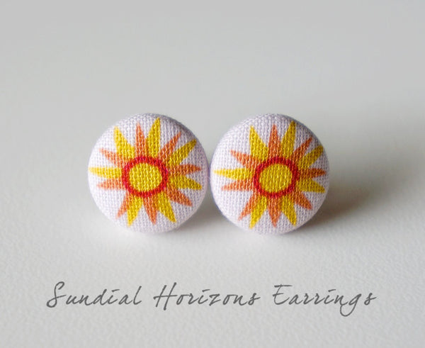 Sundial Horizons Handmade Fabric Button Earrings