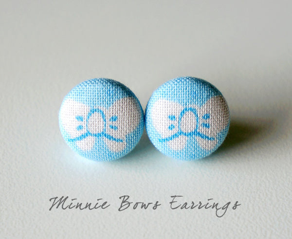 Minnie Bows Handmade Fabric Button Earrings