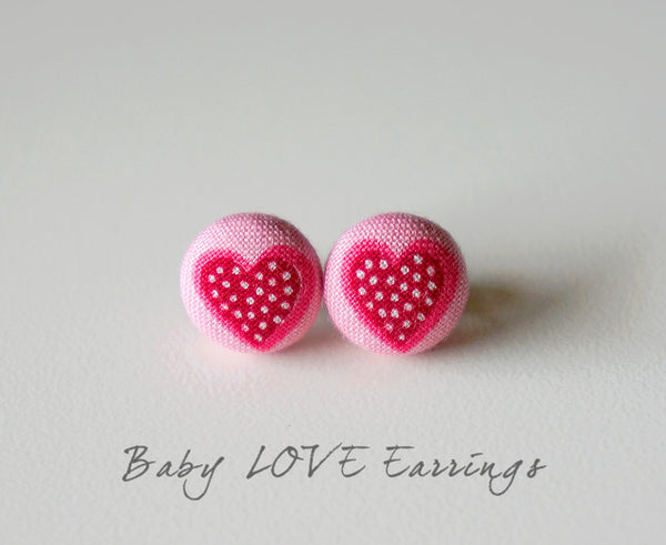 Baby LOVE Handmade Fabric Button Earrings