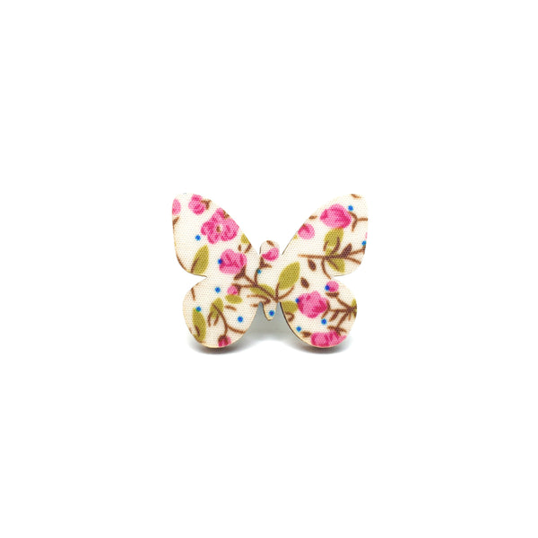 Pink Floral Butterfly Wooden Brooch Pin
