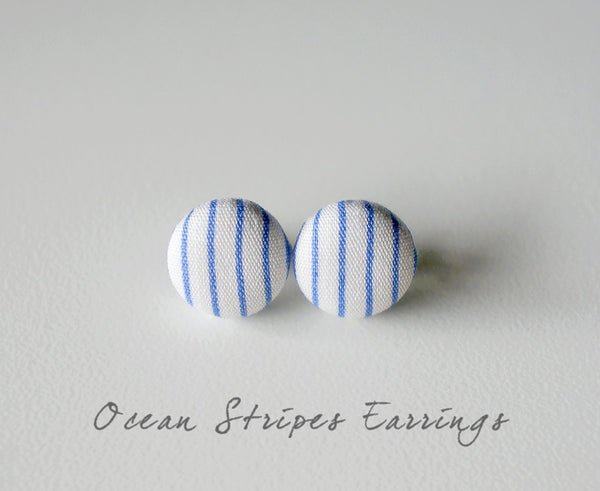 Ocean Stripes Handmade Fabric Button Earrings