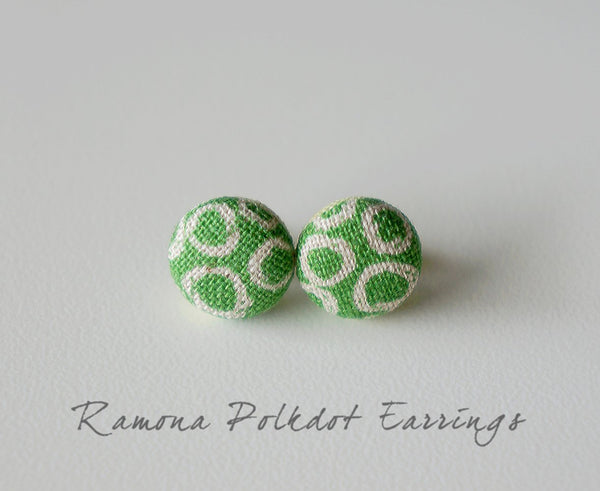 Ramona Polkdot Handmade Fabric Button Earrings