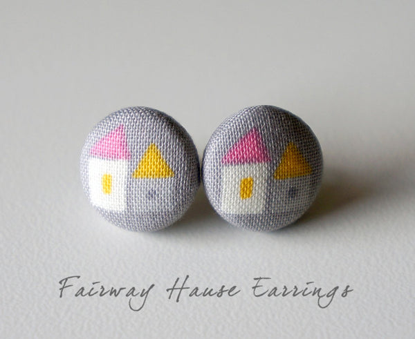 Fairway Hause Handmade Fabric Button Earrings