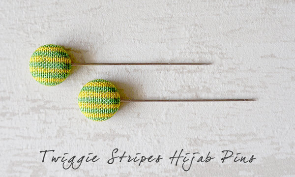 Twiggie Stripes Handmade Fabric Button Hijab Pins