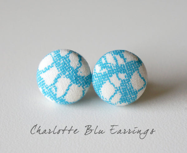 Charlotte Blu Handmade Fabric Button Earrings