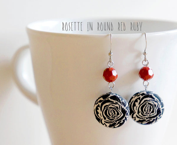 Rosette Dangle Handmade Fabric Button Earrings