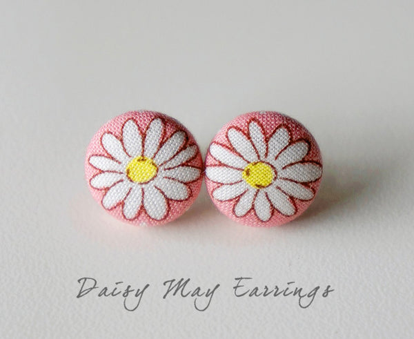 Daisy May Handmade Fabric Button Earrings