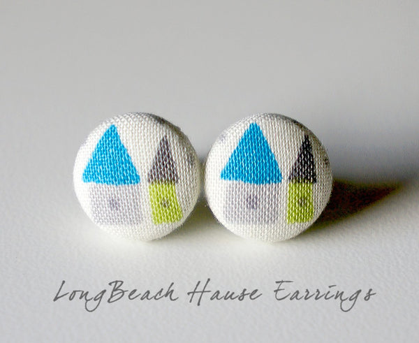 LongBeach Hause Handmade Fabric Button Earrings