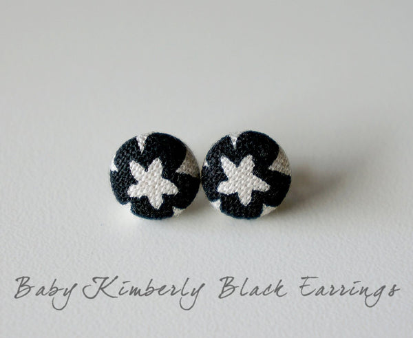 Baby Kimberly Black Handmade Fabric Button Earrings