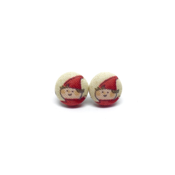 Little Elves Handmade Fabric Button Christmas Earrings