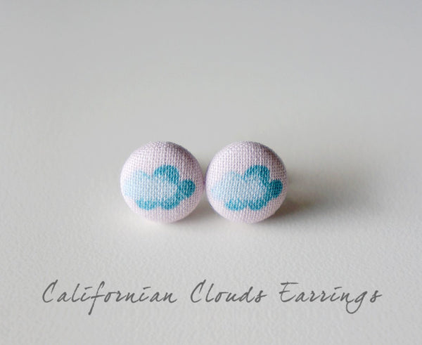 Californian Clouds Handmade Fabric Button Earrings