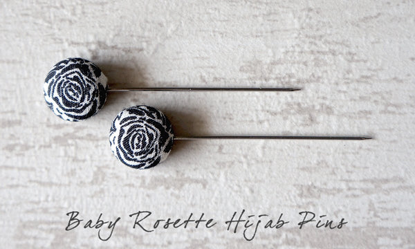 Baby Rosette Handmade Fabric Button Hijab Pins