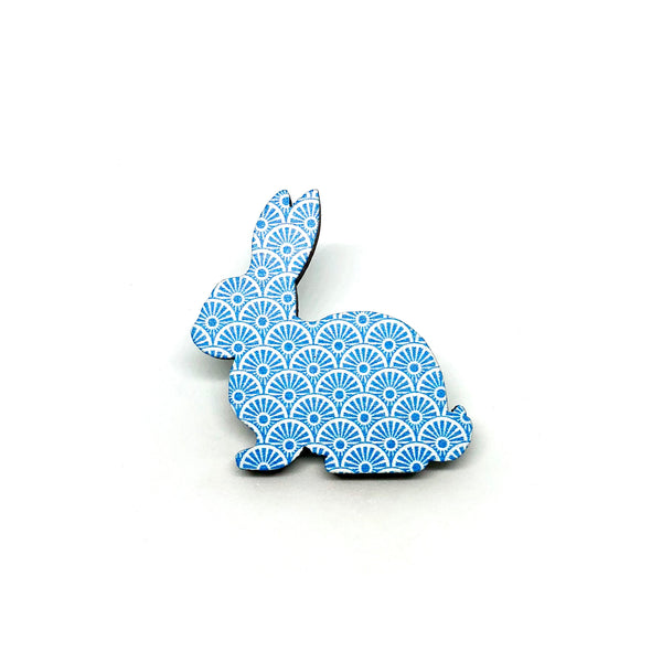 Blue Wheels Rabbit Wooden Brooch Pin