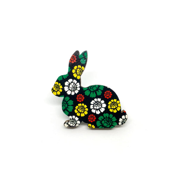 Dark Garden Rabbit Wooden Brooch Pin