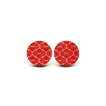 Geometric Red Waves Wooden Earrings