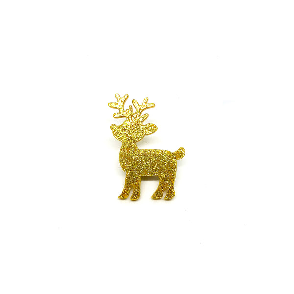 Gold Glitter Deer Laser Cut Acrylic Brooch Pin
