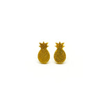 Gold Glitter Pineapple Laser Cut Acrylic Earrings
