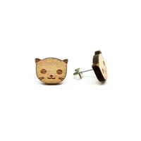 Kitty Laser Cut Wood Earrings