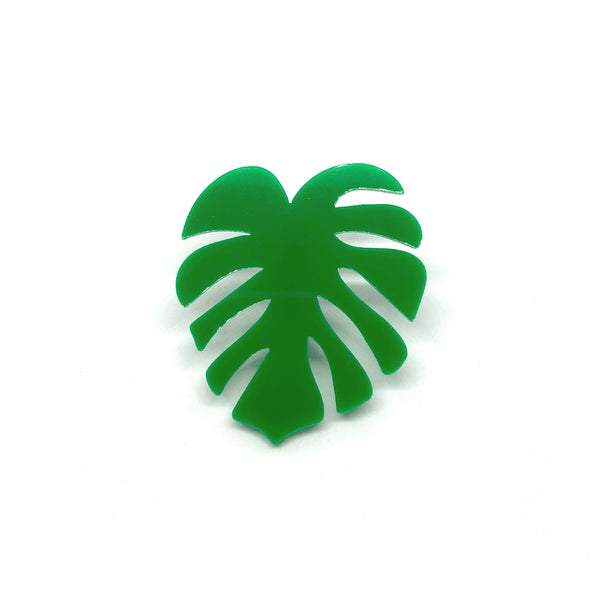 Monstera Leaf Laser Cut Acrylic Brooch Pin