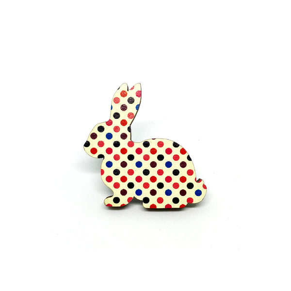 Retro Polka Dot Rabbit Wooden Brooch Pin