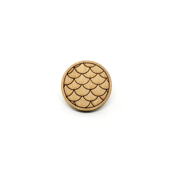 Singapore Merlion Scales Wooden Brooch Pin